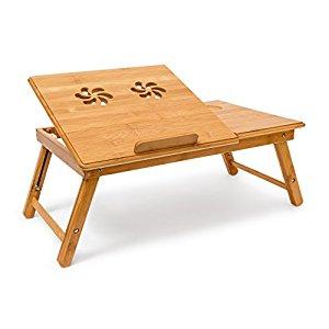 relaxdays table pliante pour ordinateur portable bambou table d 39 appoint hauteur r glable plateau. Black Bedroom Furniture Sets. Home Design Ideas