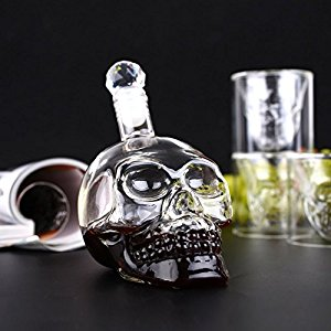 Amzdeal® Bouteille alcool 320ml Skull Head avec 6 Verres à Vin 75ml ...